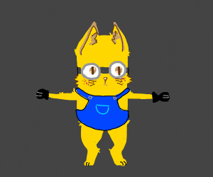 two-eyed minion cat