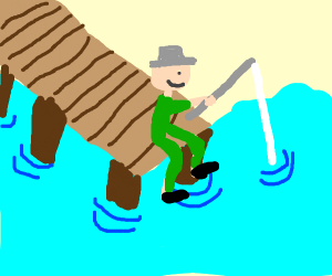 Person fishing on dock from bird's eye POV