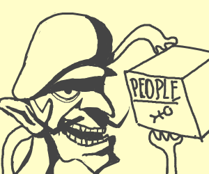 Waluigi eating a box of people