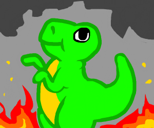 T-rex escaping a fire, coming for you.