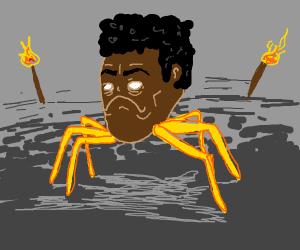 sad giant black man's head w yellow tentacles