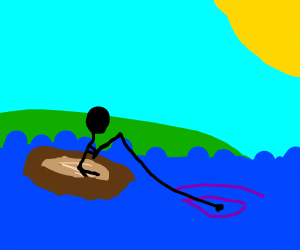 Fishing in a boat