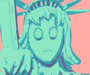 statue of liberty as an anime girl alien