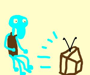 Squidward Watching TV