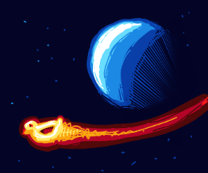 Duck-comet blasting through a planet