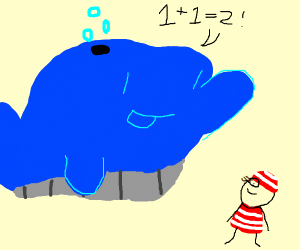 Bigass blue whale explains math to kid Waldo