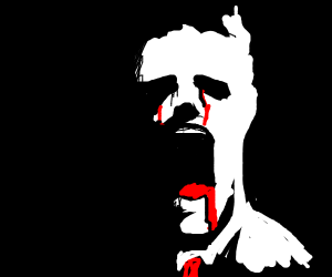 Screaming guy bleeds from eyes and mouth