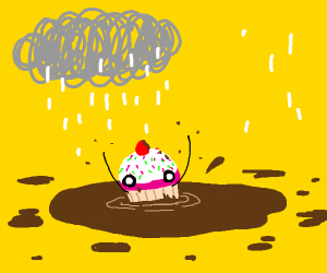 a cupcake in a mud puddle