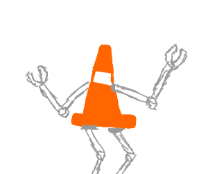 safety cone with robot arms and legs