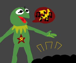 Communist Kermit sings the Song of His People