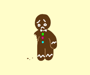 Sad one-armed gingerbread man