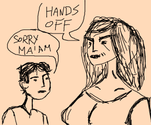 Woman is not amused by boy touching her