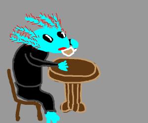 fancy axolotl sips tea