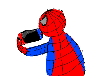 Spider-Man playing on his switch