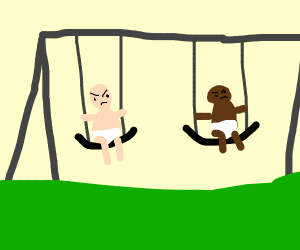 two angry babies swing on swing set