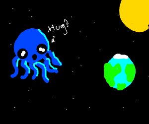 octopus in space looking at earth (for hug?)