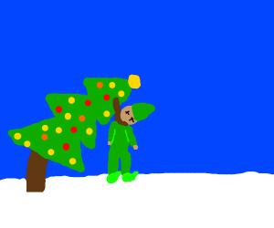 Elf hangs himself on Christmas tree