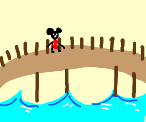 mickey mouse crossing a bridge