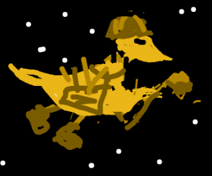 Construction worker-duck with hammer in space
