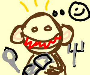 Monkey eating a Notebook