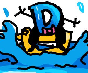 Fancy D on top of duck that is splashin water
