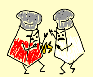 red salt shaker vs white salt shaker