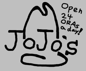 guy refused to draw jojo so he drew arby logo