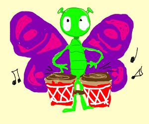 Butterfly alien does bongos