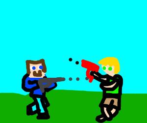Minecraft Steve plays Fortnite