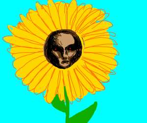 a flower with a scary face