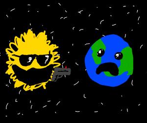 Sun mugging a Earth
