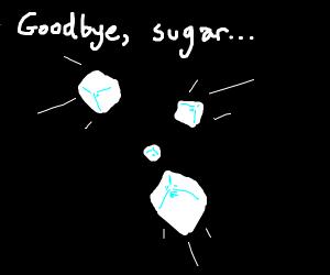his sugar cubes fell, poor boy