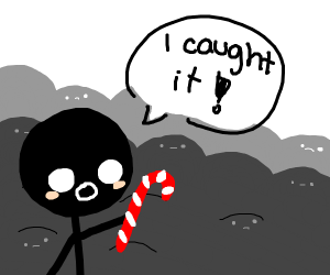 person caught the candy cane