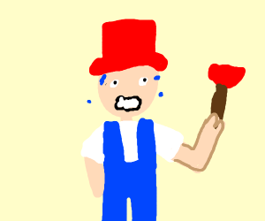 Red hat And Blue overalls plumber nervous
