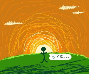 "Man dies at sunset, says ""bye"""