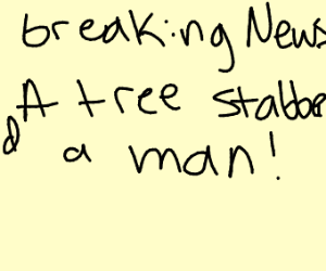 breaking news a tree stabbed a man