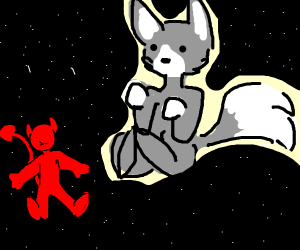 artic wolf in space