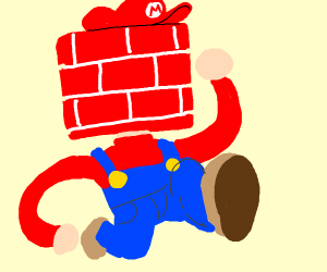 Mario, but his head is a red brick
