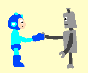 MegaMan and Robot shaking hands