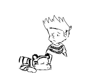 calvin and hobbes but its really sad