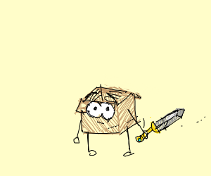 alive box with a sword