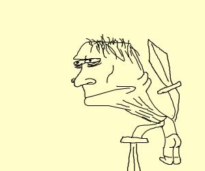 Steve on crack with two diamond swords