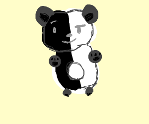 Thick and evil half white half black panda
