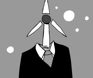 A body with windmill head blows bubbles