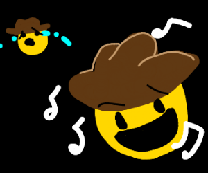 Cowboy emoji crying whilst another one sings