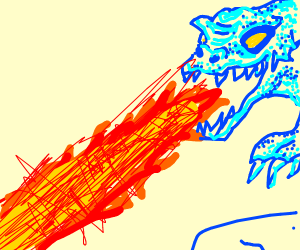Water dragon breathing fire