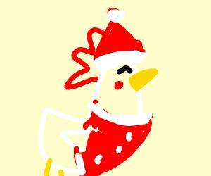 A Chicken That Looks Like Santa