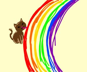 Brown cat tastes the rainbow
