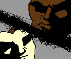 Dark-skinned man vs a pale mask