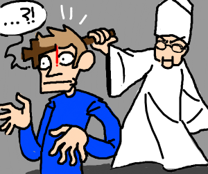 being stab head with a cross by the pope